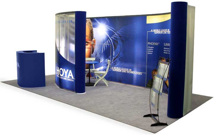 Custom Portable Exhibit 20' pop-up with clear panel meeting room