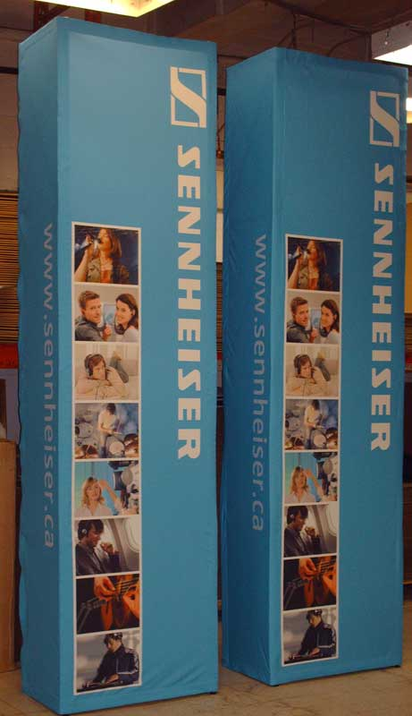 Custom Exhibit Fabric covered Pop-up 4-sided 12' high towers
