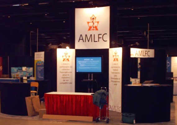 Custom Portable Exhibit Fabric covered Pop-up 4-sided 12' high towers